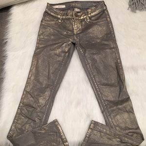 Decree Faded Gold Metallic Gray Super Skinny Jeans